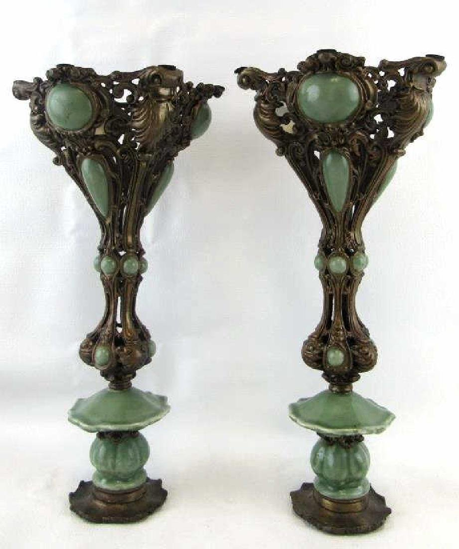Pair of Vintage Copper and Jade Candle Holders - 2