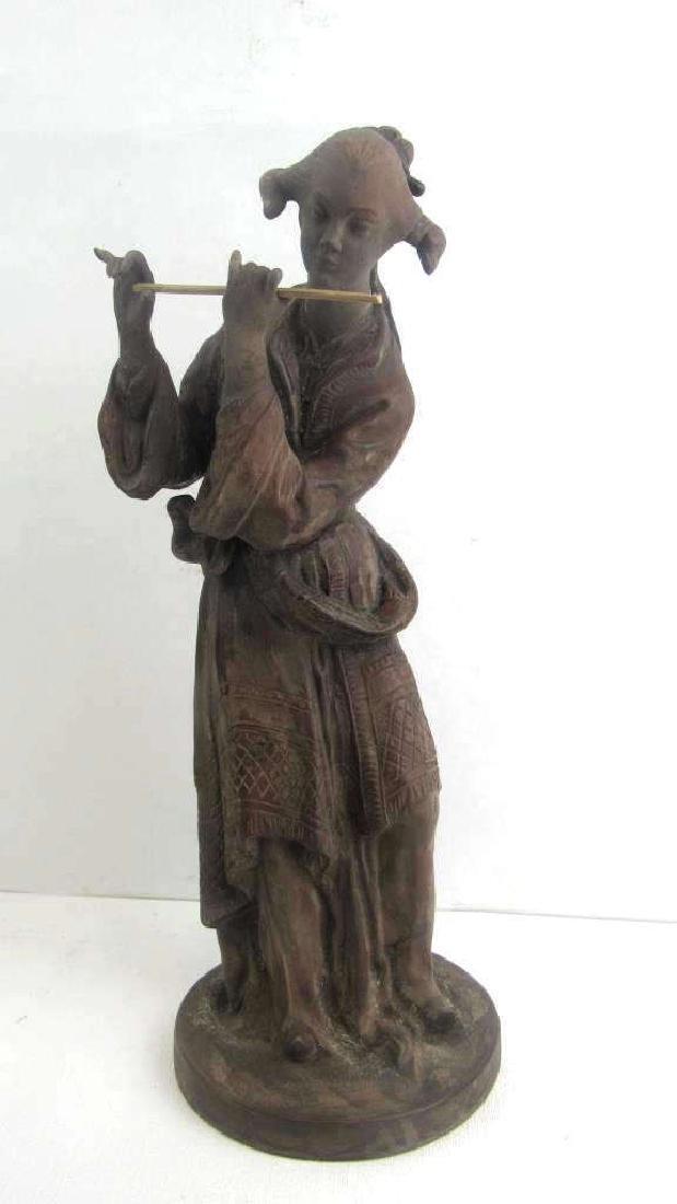 Qing Dynasty Style Porcelain Imitation Wood Statue