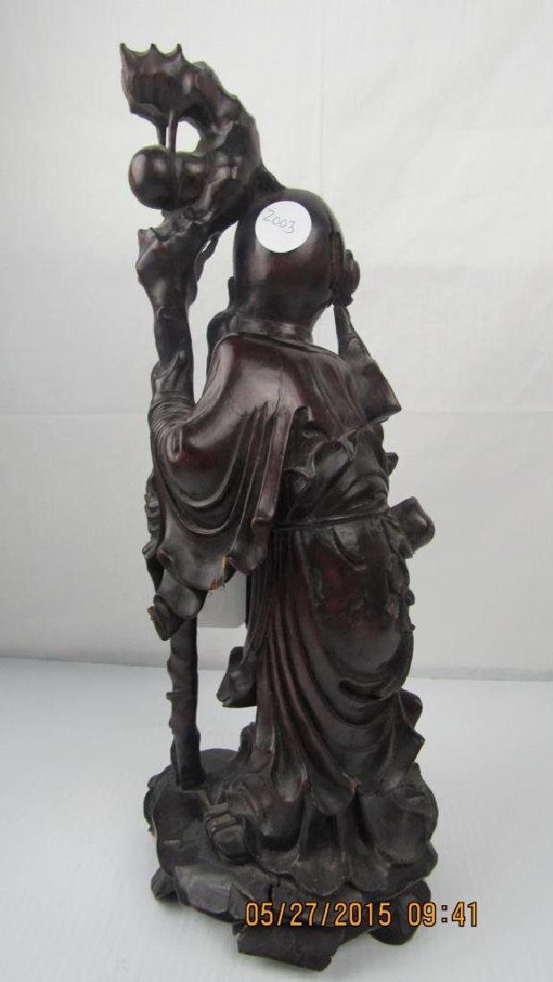 Rosewood Carving of Chinese God of Longevity - 10