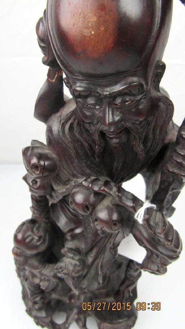 Rosewood Carving of Chinese God of Longevity