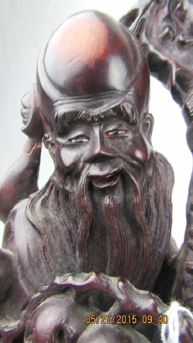 Rosewood Carving of Chinese God of Longevity - 3