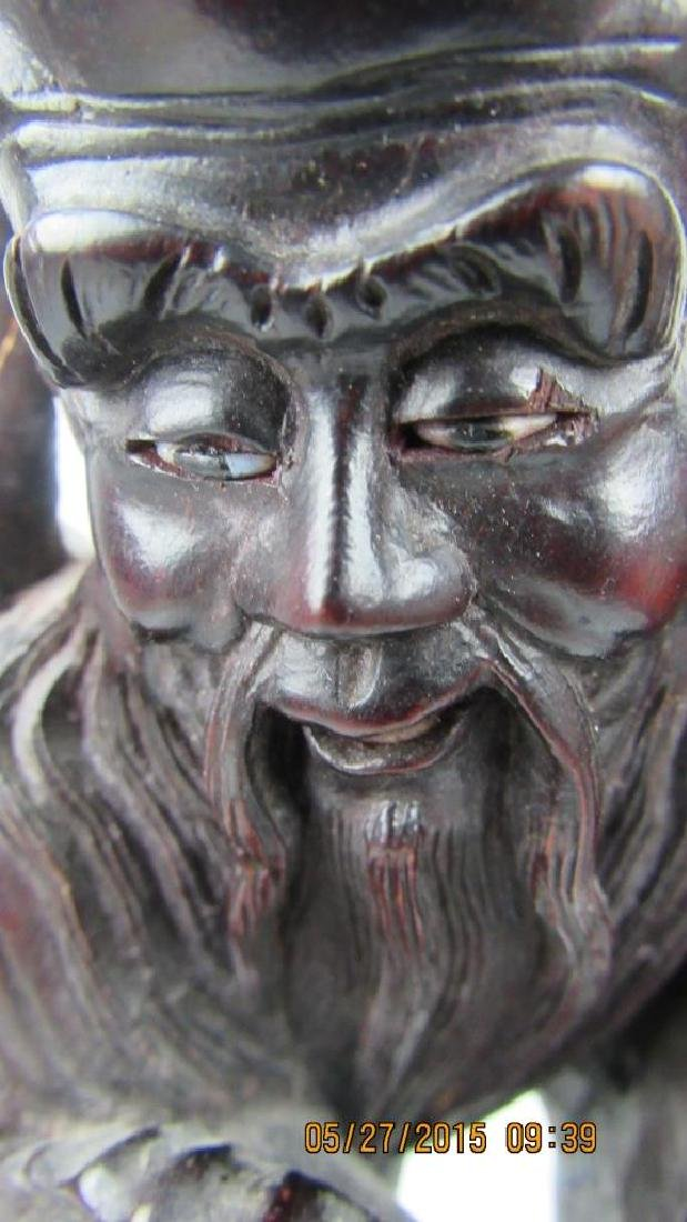 Rosewood Carving of Chinese God of Longevity - 7