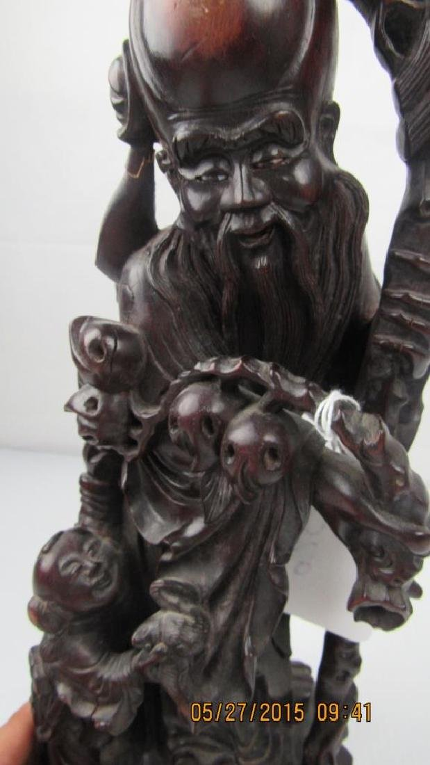Rosewood Carving of Chinese God of Longevity - 8