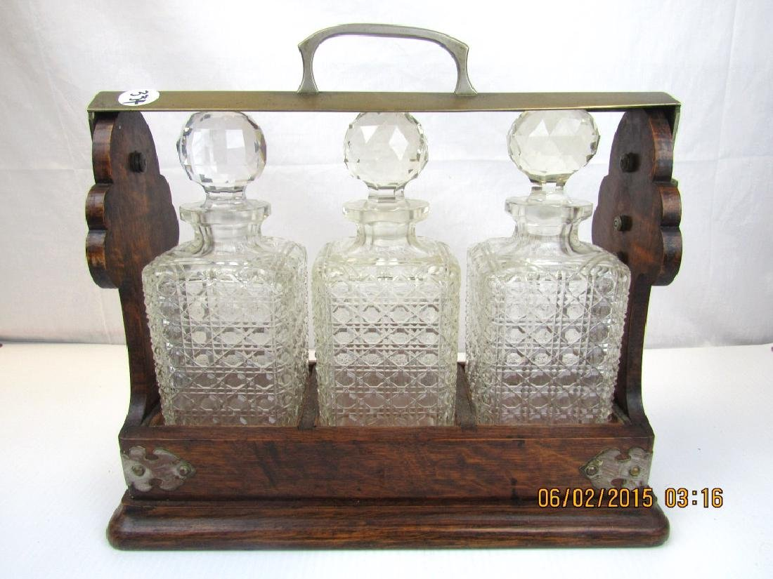 Set of 3 Crystal Whiskey Bottles with Stand