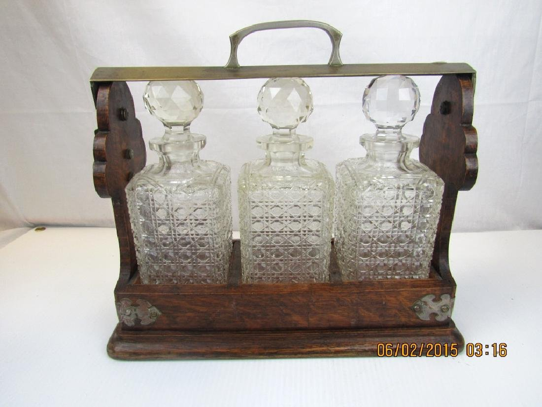 Set of 3 Crystal Whiskey Bottles with Stand - 2