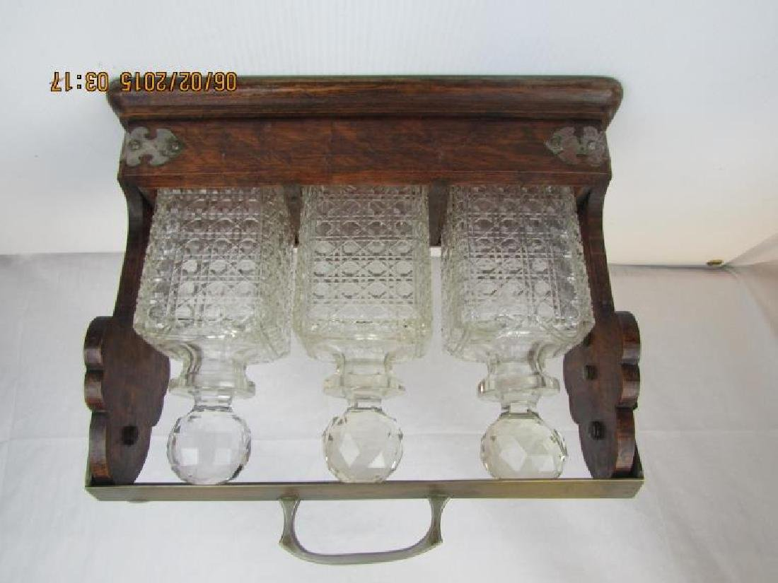 Set of 3 Crystal Whiskey Bottles with Stand - 3