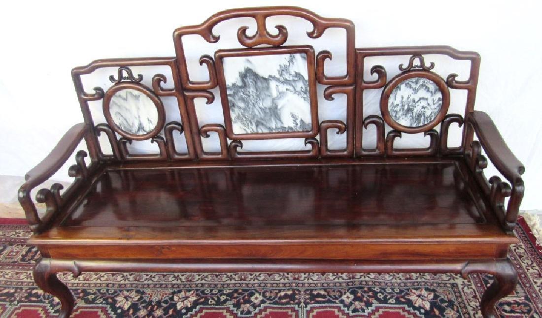 19th Century Chinese Huangua Hainan Marble Bench - 2