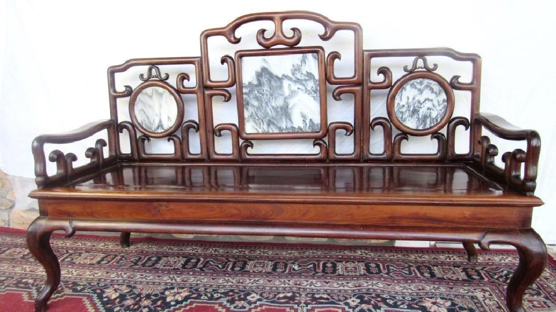 19th Century Chinese Huangua Hainan Marble Bench - 3