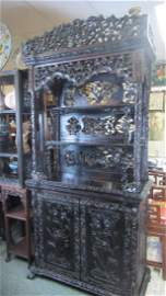 Large Carved Rosewood Display Hutch