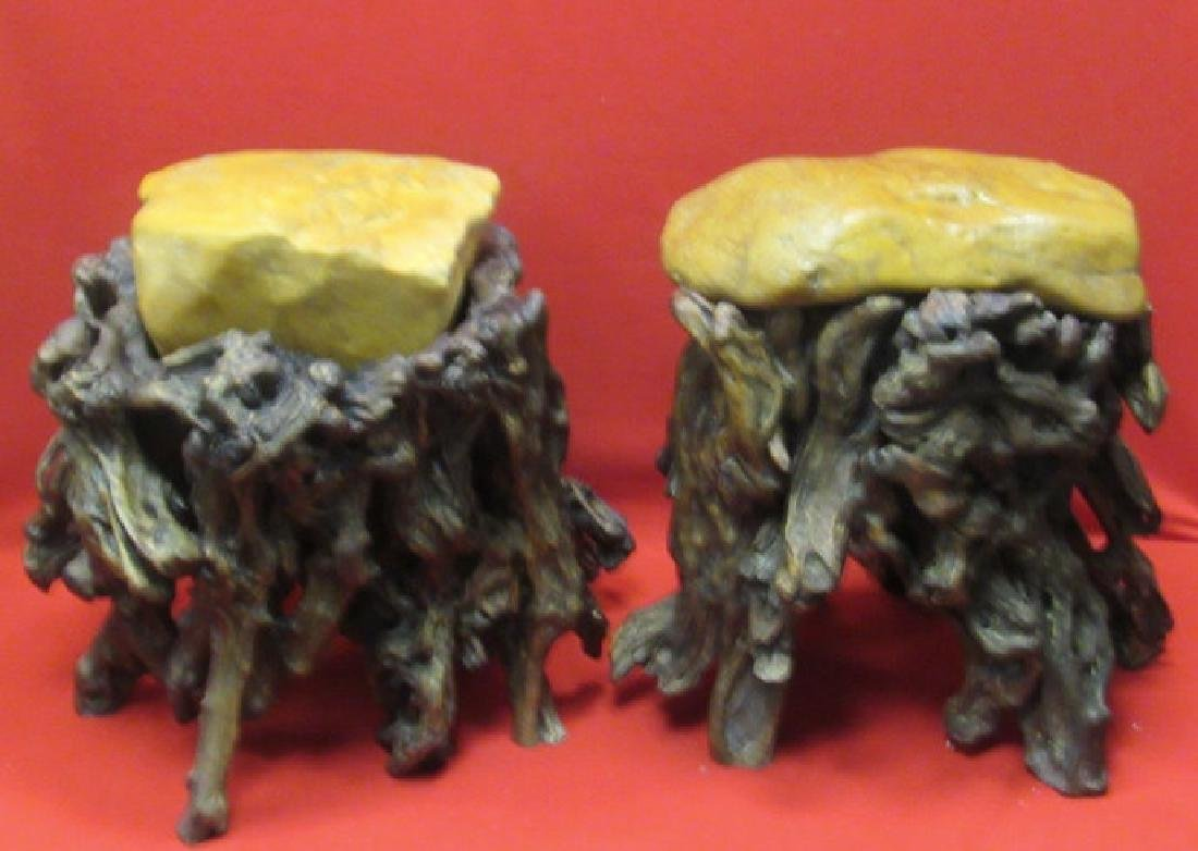 Pair of Chinese Wax Stone Rootwood Stools - 2
