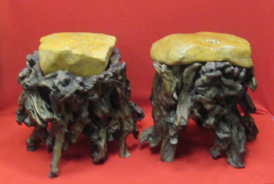 Pair of Chinese Wax Stone Rootwood Stools - 5