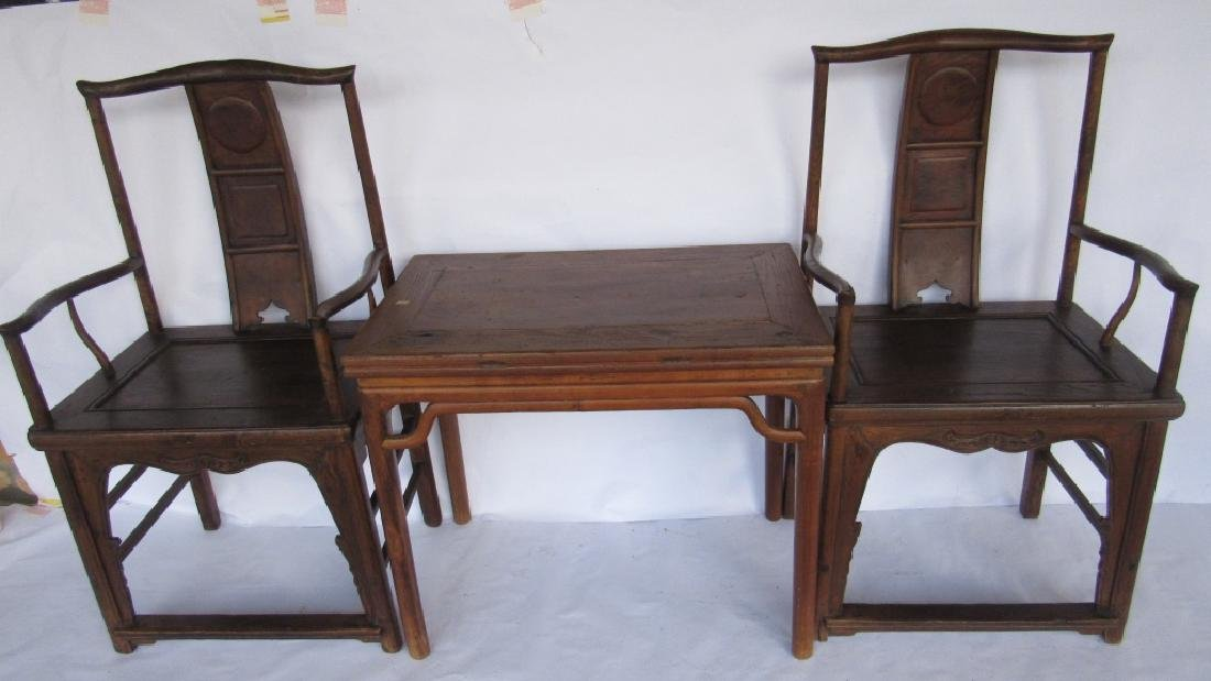 Pair of Chinese elm & burl Ming Style Arm Chairs - 2
