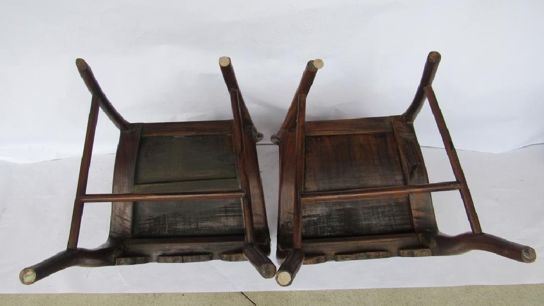 Pair of Chinese elm & burl Ming Style Arm Chairs - 4