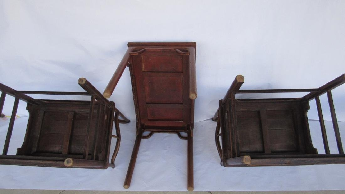 Pair of Chinese elm & burl Ming Style Arm Chairs - 5