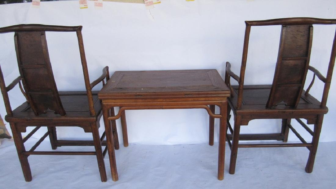 Pair of Chinese elm & burl Ming Style Arm Chairs - 6