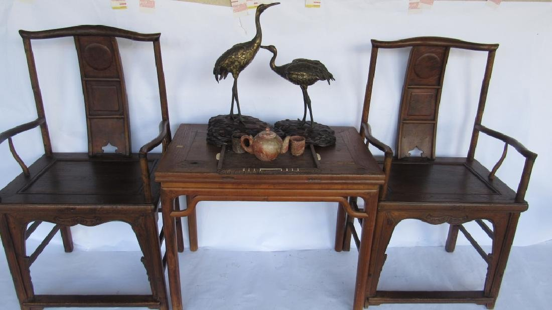 Pair of Chinese elm & burl Ming Style Arm Chairs - 7