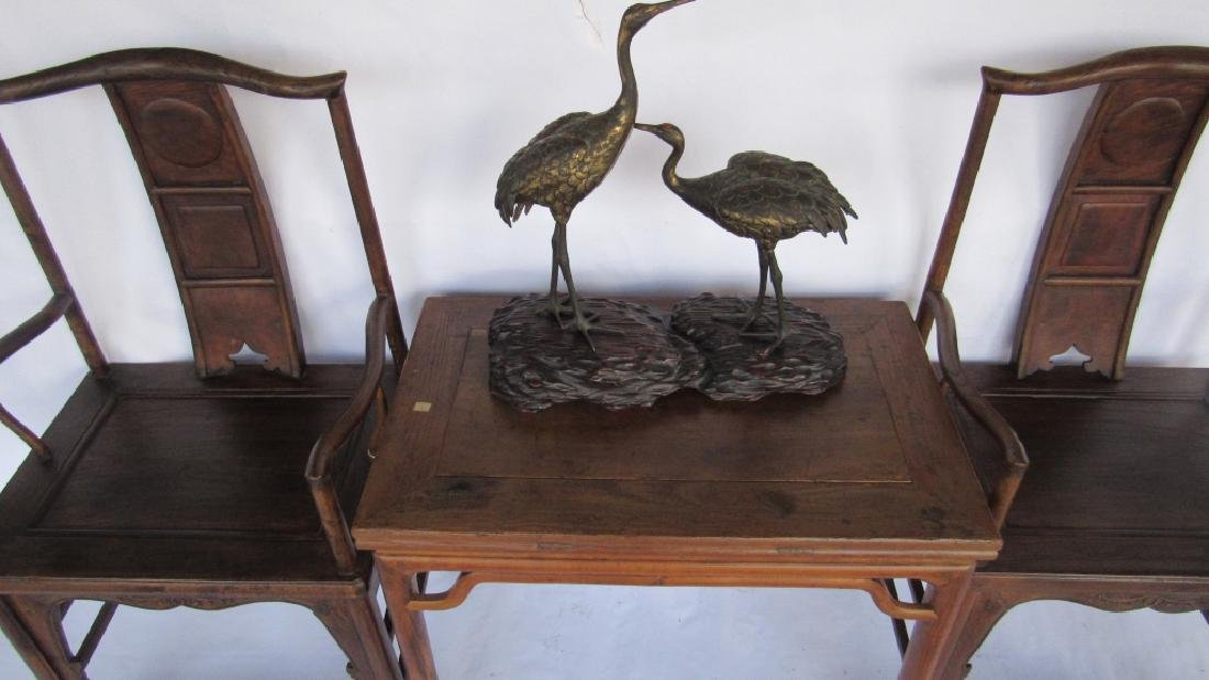 Pair of Chinese elm & burl Ming Style Arm Chairs - 8