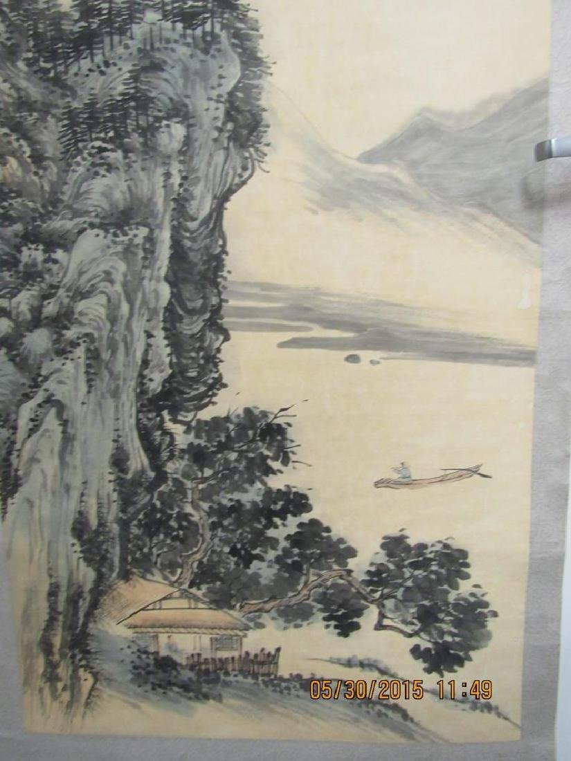 Large Chinese Scroll Painting of Mountains