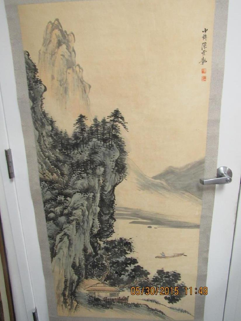 Large Chinese Scroll Painting of Mountains - 2