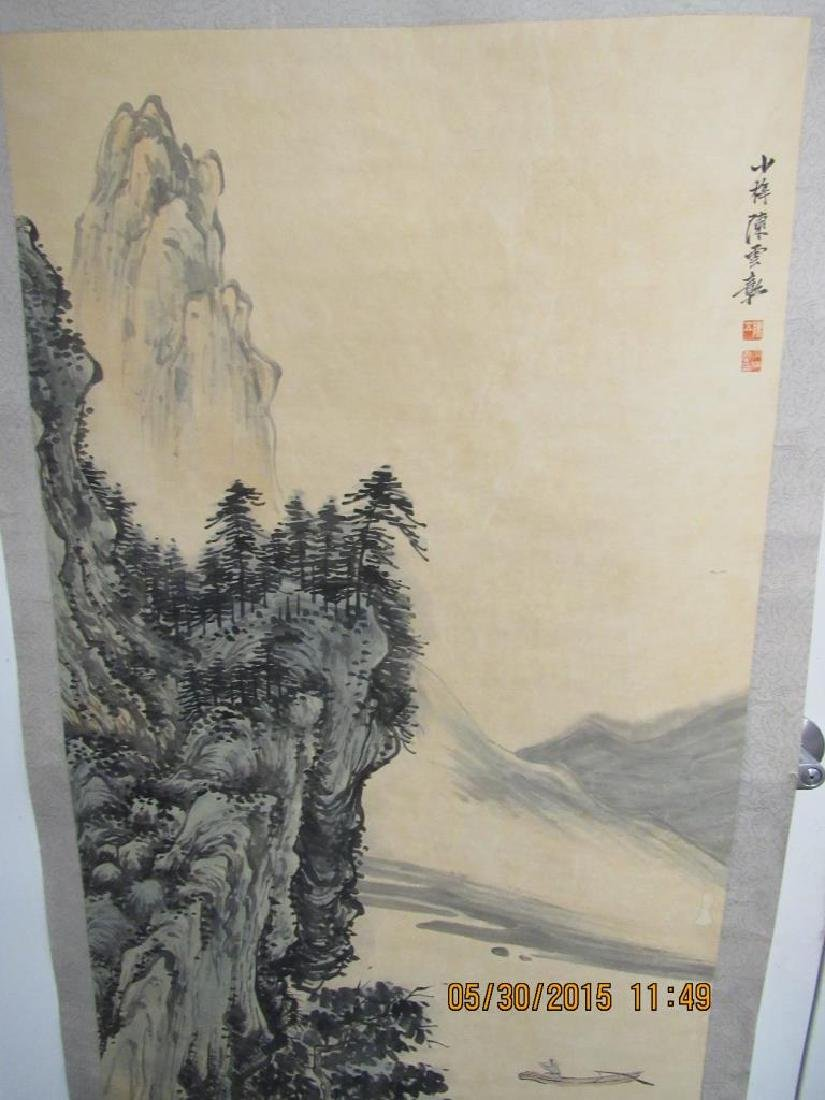 Large Chinese Scroll Painting of Mountains - 3