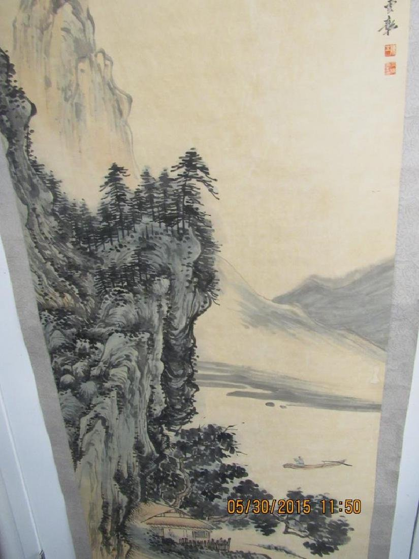 Large Chinese Scroll Painting of Mountains - 4
