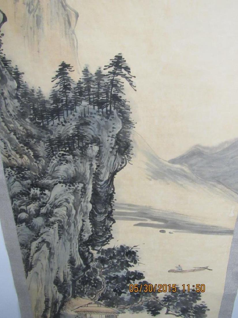 Large Chinese Scroll Painting of Mountains - 5