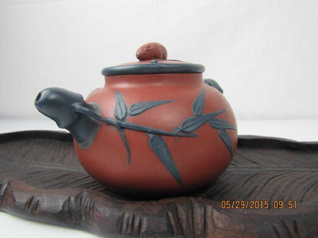 Old Chinese YiXing Zisha Teapot; Marked - 3