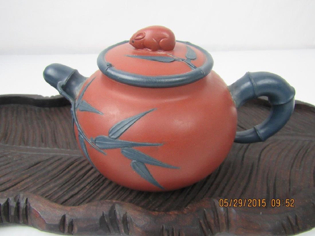 Old Chinese YiXing Zisha Teapot; Marked - 4