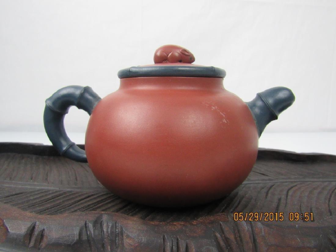 Old Chinese YiXing Zisha Teapot; Marked - 6