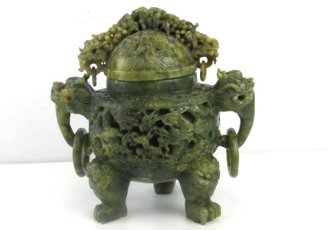 Qing Dynasty Style Jade Dragon Flower Urn
