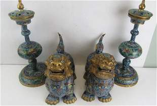 Set of Cloisonne Foo Dogs and Incense Burners