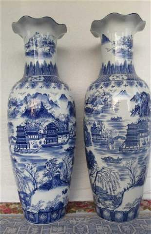Pair of Very Large Blue & White Chinese Urns
