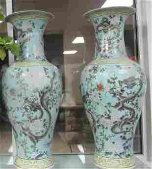 PAIR OF MONUMENTAL CHINESE PORCELAIN VASES