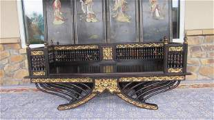 19th Century Chinese Red Wood Painted Gold Bench