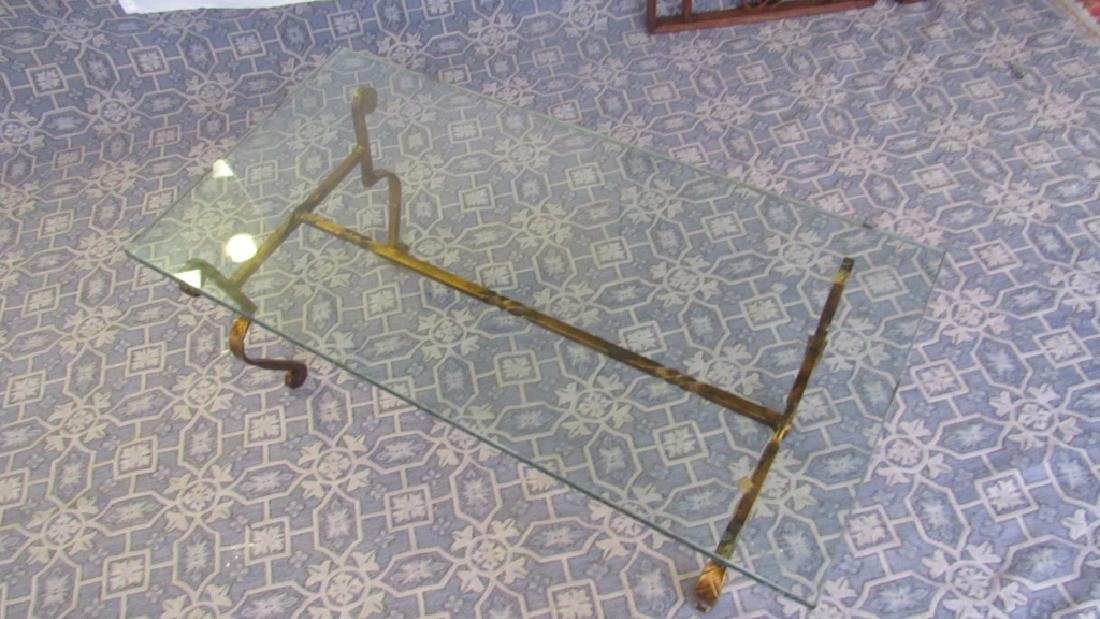 Bronze Leg Glass top Old Coffee Table - 2