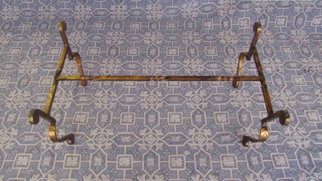 Bronze Leg Glass top Old Coffee Table - 5