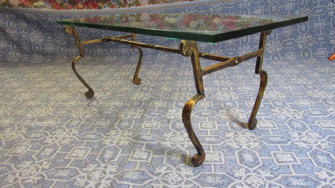 Bronze Leg Glass top Old Coffee Table - 6