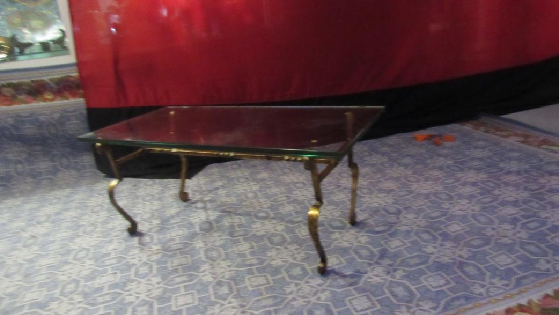 Bronze Leg Glass top Old Coffee Table - 7