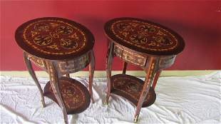 Pair of Wood End Tables with Pull Out Drawers