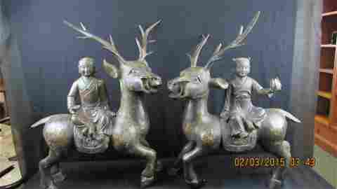 Pair of 17th Century Bronze Figurine with  Gilt Gold