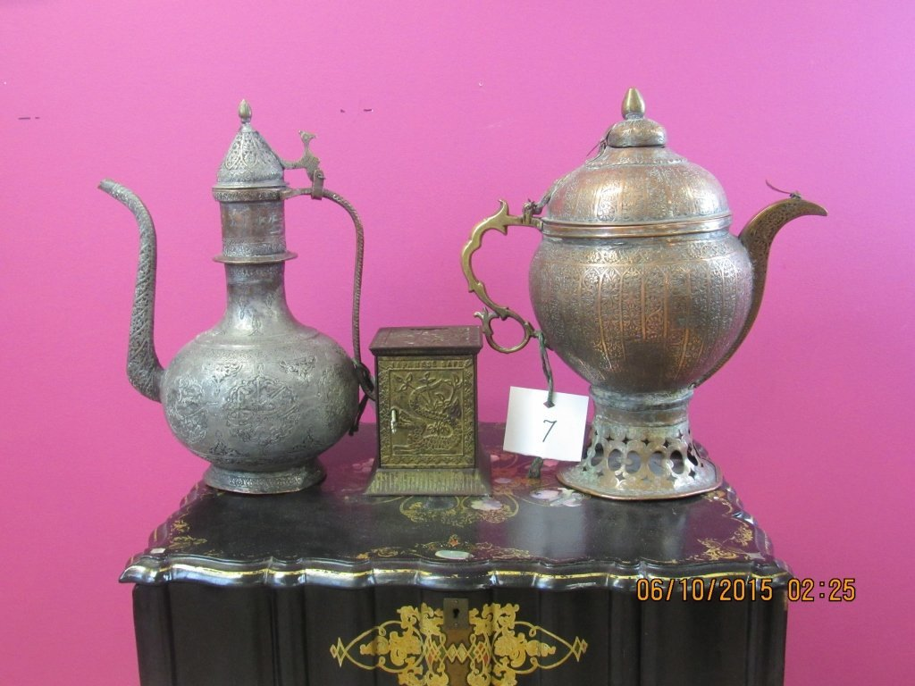 Asian Bronze or Metal Pitchers and Safe