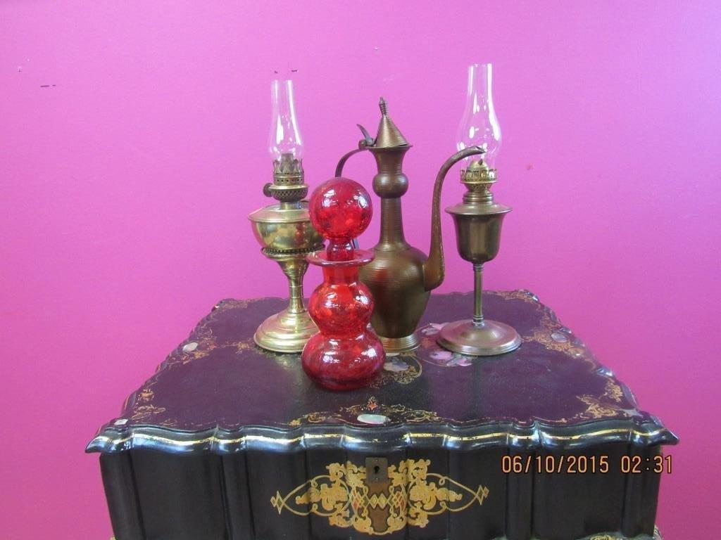 4 Pcs; Oil Lamps, Glass Bottle, Brass Pitcher