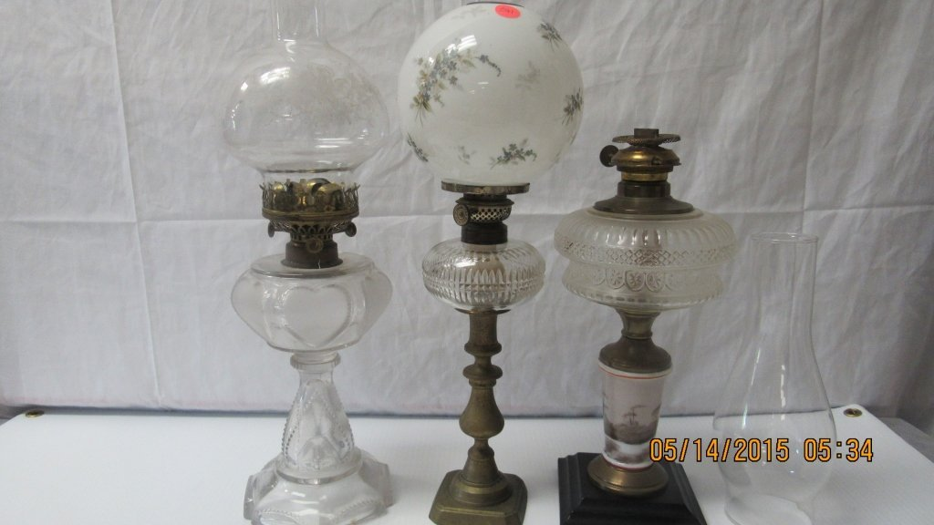 Three Antique Glass Oil Lamps