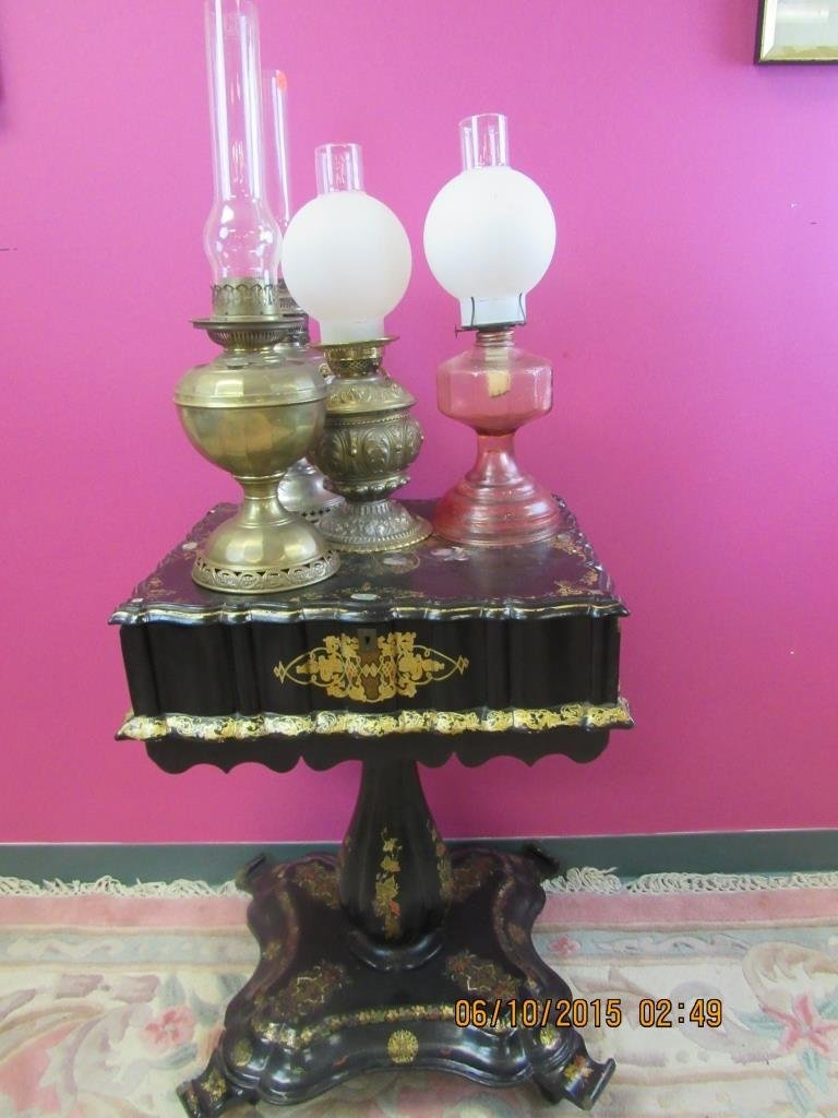 Four Oil Lamps of Brass, Glass or Metal, B&H
