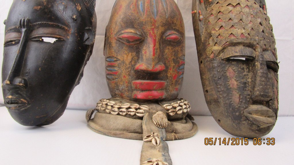 Three Vintage African Tribal Wooden Masks