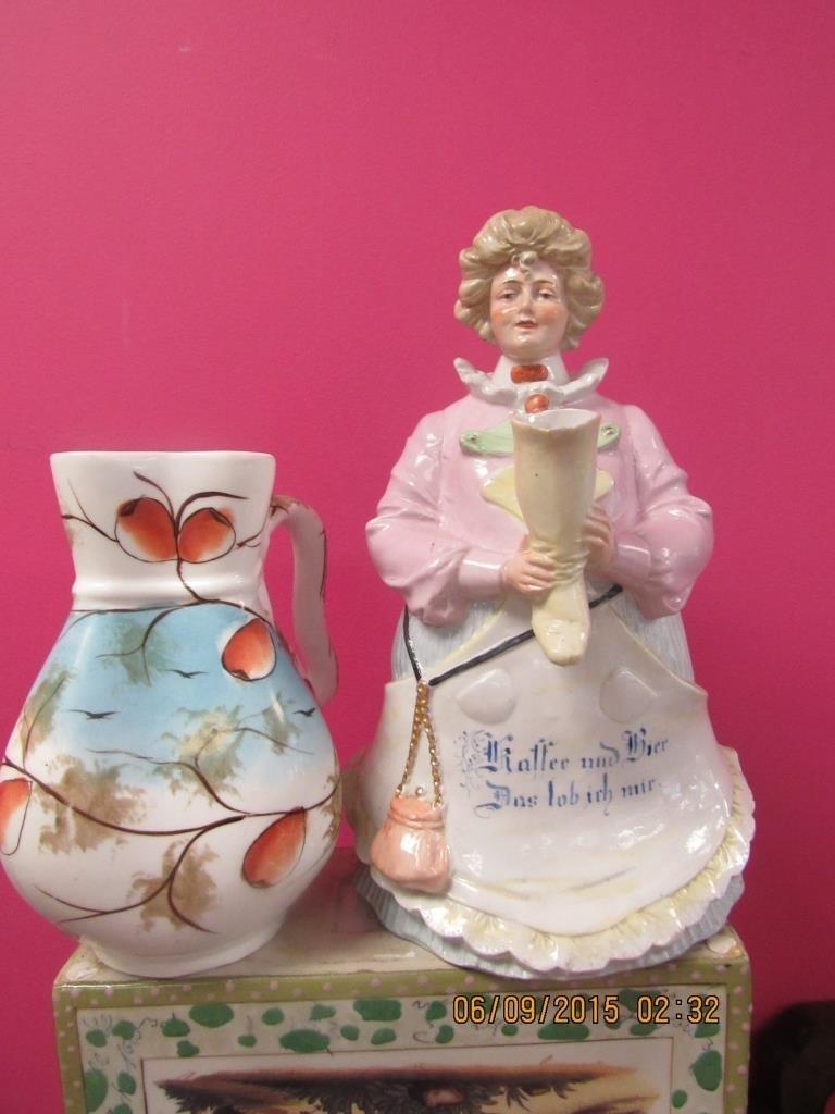 German Figural Lidded Jar & China Painted Pitcher