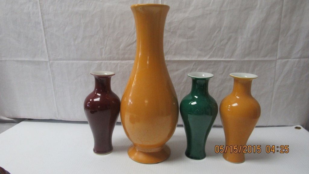 Four Chinese Porcelain Glazed Baluster Vases