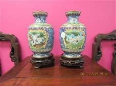 Pair of Chinese Cloisonne Vases With Cranes