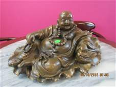 Asian Arts Bronze Buddha Statue and Stand
