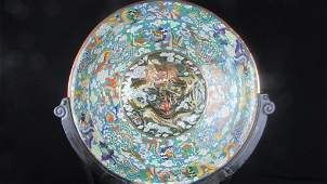 Large Chinese Cloisonne Dragon Plate  Wood Stand